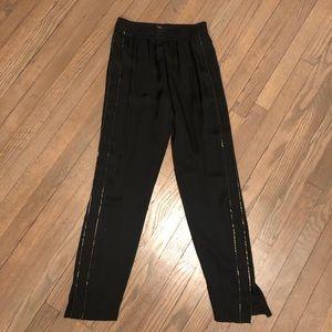 Theory Viewpine Satin Silk Beaded Pants Black 00